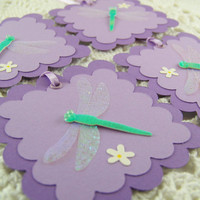 Purple Dragonfly Gift Tags Baby Shower Wedding Bridal Shower Tags Set of 4