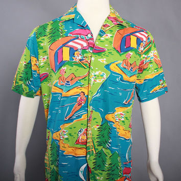 90s POLO Ralph Lauren HAWAIIAN SHIRT / 1990s Bathing Beauties Novelty Beach Print