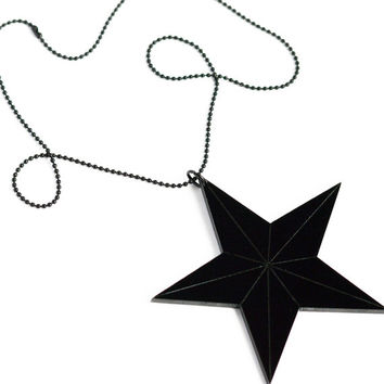 Large black laser cut and engraved acrylic nautical star reversible statement necklace on petite black or silver ball chain