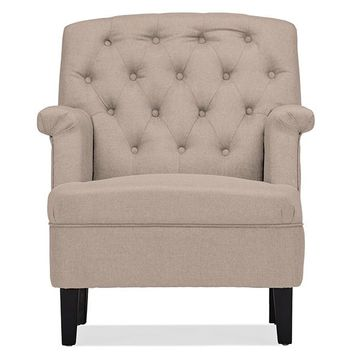 Baxton Studio Jester Classic Retro Modern Contemporary Beige Fabric Upholstered Button-tufted Armchair Set of 1