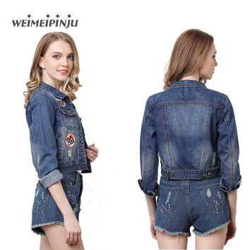 Summer Women's Ripped Jackets 2017 New Embroidered Denim Jacket For Woman Ladies Jeans Outwear Long Sleeve Kot Ceket Coat Femme