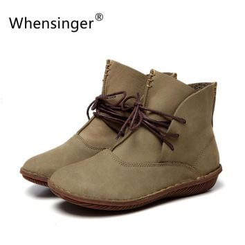 Whensinger - 2017 Women Shoes Spring Female Genuine Leather Boots Handmade Vintage Lit