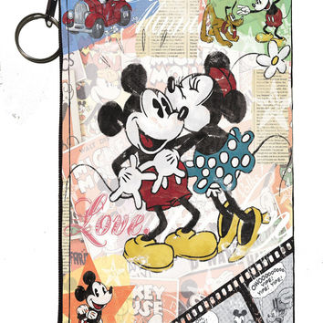 "Disney's Mickey & Minnie Zipper Pouch 8"" x 4"""