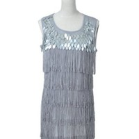 Anna-Kaci S/M Fit Grey All-Over Layered Fringe Front Mirror Ball Sequin Dress