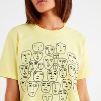 UO Faces Sketch Cropped Tee | Urban Outfitters