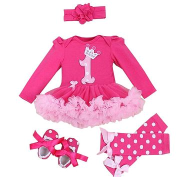 Baby Girl Clothing Sets baby Christmas Lace Tutu Romper Dress Jumpersuit+Headband+Shoes 4pcs Set Bebes First Birthday Costumes