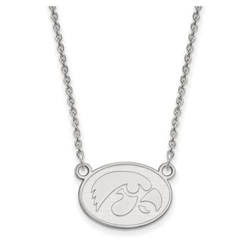 NCAA 14k White Gold U of Iowa Small Hawkeye Disc Pendant Necklace