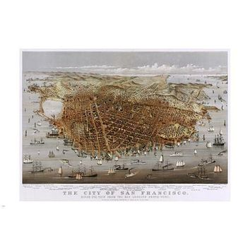 THE CITY OF SAN FRANSISCO panorama by CURRIER & IVES scenic poster 24X36