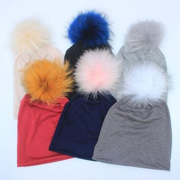 VONEGQ 2017 New Spring Beanies Hats For Womens Soft cotton Polyester Slouch Beanies With Real Fur Pompom Hats For Ladies Oversize Hat