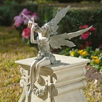 SheilaShrubs.com: Fairy of the West Wind Sitting Statue: Set of 2 CL95276 by Design Toscano: Garden Statues