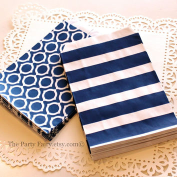 Paper Bag, 20 Navy Sailor Stripe and Circle Assorted Treat Bags, Navy Bag, Candy Bag, Nautical Party Favor, Baby Shower Favor, Wedding Favor