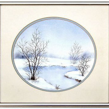 Winter Landscape Watercolor Painting Signed K Parry Round Mat Framed