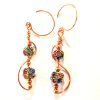 "Copper ""Baila!"" Handcrafted Earrings Wire Wrapped"