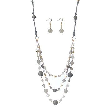3 Layer Semi Precious Stone Chain Long Necklace Set
