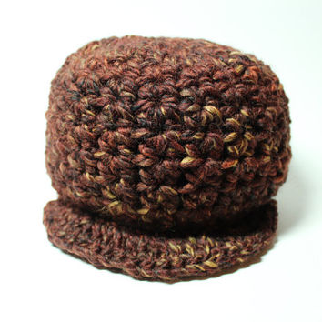 Brown Newsboy Cap, Crochet Brimmed Beanie, Women's Fall Chunky Hat With Brim, Winter Accessory