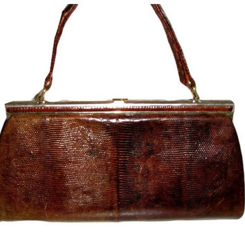 Vintage 50s Exotic KARUNG Snakeskin French Handbag Frame Purse - Made in France, Estate Piece