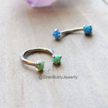 Opal rook earring 16g septum ring piercing hoop titanium daith conch bar silver body jewelry green blue opals prong set ear piercings set