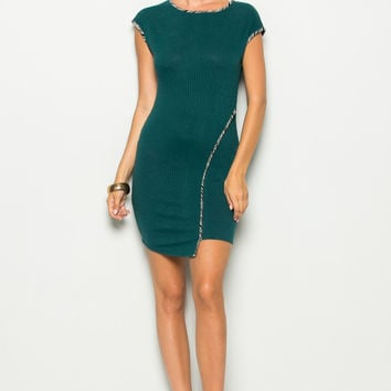Forest Green Asymmetrical Hem Bodycon Dress