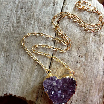 Amethyst Heart Necklace by MesaBlue on Etsy