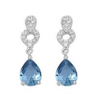 Aquamarine & Cz Drop Earrings .925 Sterling Silver
