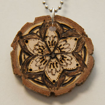 Mandala 7 Wood Burned Necklace by GabyBrooksDesigns on Etsy
