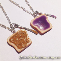Peanut Butter & Jelly Best Friend Necklaces - Grape Jam - PB and J - Kawaii Polymer Pendant - Miniature Food Jewelry - Sandwich - Purple