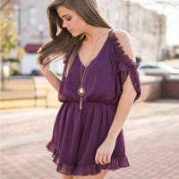 Purple V-Neck Off Shoulder Flounce Romper