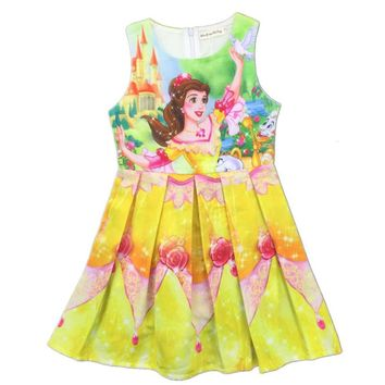 Baby Girl Dress Beauty and The Beast Princess Dress Girls Dresses Children Dress Party Clothing Kid Clothes Cosplay Costumes