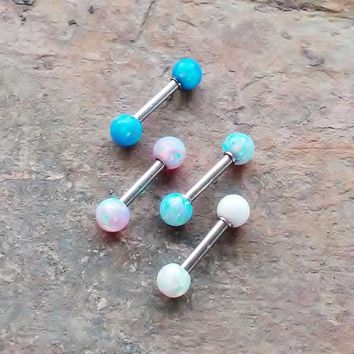 2 Sided Opal 16g, 16 gauge cartilage, tragus, helix barbell earring