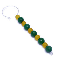 Beaded Holiday Ornament - Green and Gold Christmas Suncatcher - Gifts Under 10 - Glass Icicles - Gifts for Mom - Packer Football Ornament
