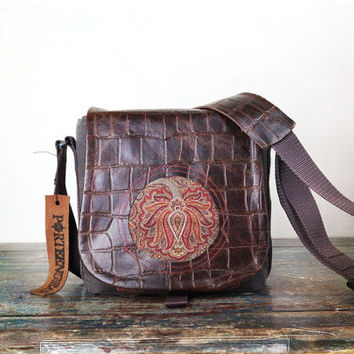 Small Red paisley and Leather DSLR Camera Bag- PRE ORDER