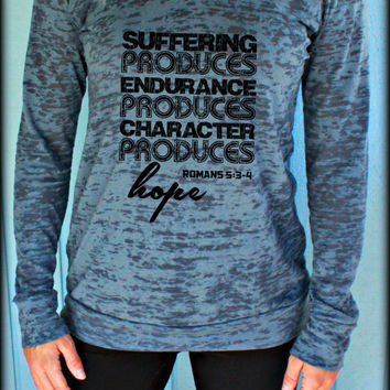 Womens Pullover Burnout Workout Hoodie. Suffering Produces Hope Romans 5 Bible Verse. Running Hoodie. Christian Clothing. Workout Motivation