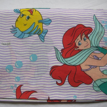 Vintage Little Mermaid Ariel Disney Window Valance Bedding Decor Craft Fabric Clean Used