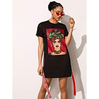 SHEIN Contrast Slogan Tape Figure Graphic Tee Dress