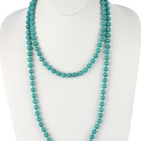Turquoise Long Wooden Bead Necklace