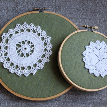 Shabby Chic Doily Art Green Felted Vintage Lace Cottage Chic Embroidery Hoop Wall Hanging