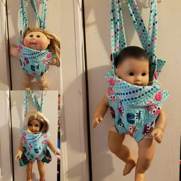 "Baby Carrier doll sling 15-18 inch dolls  Will fit Bitty Baby®  Cabbage Patch® ""Foxes"" adjustable quilted  size 3-5 years of age C5"