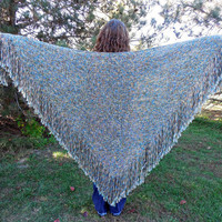 Handwoven Shawl Large Woven Triangle Shawl Wrap Multicolor Ocean Earth Tones Blue Green Brown