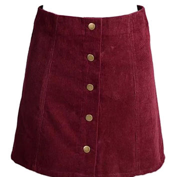 Burgundy Velvet Button Front A-line Mini Skirt