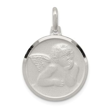 925 Sterling Silver Satin Angel Charm and Pendant