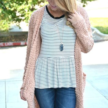 Find Your Path Cardigan - Blush