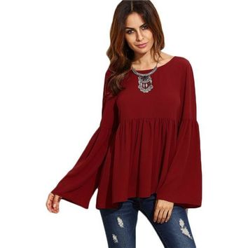 Butterfly Sleeve Baby Doll Blouse