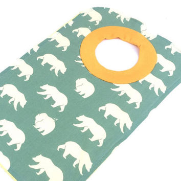 Animal Pullover Bib - Large Pullover Bib - Bib For Girls  - Girls Baby Gift - Bear Pullover Bib - Baby Bibs - Mint Green Baby Bib - 141