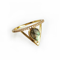 Pave Triangle RIng - Labradorite