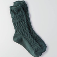 AEO Textured Geo Crew Socks, Green