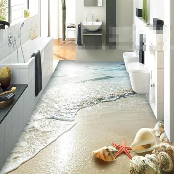 Modern sticker 3D floor bathroom mural HD Ocean Beach Shell Starfish non-slip waterproof thickened self-adhesive PVC painting