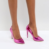 Call It Spring Gwydda Pink Metallic Court Shoes at asos.com