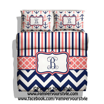 Monogrammed Striped and Chevron Nautical Anchor Bedding - Navy and Coral Duvet Cover - Personalize with Name or Monogram - Create your Bed