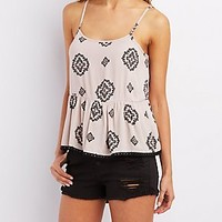 CROCHET-TRIM RUFFLE HEM TANK TOP