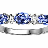 Tommaso Design Oval 5x3mm Genuine Tanzanite Ring Band 14kt Gold